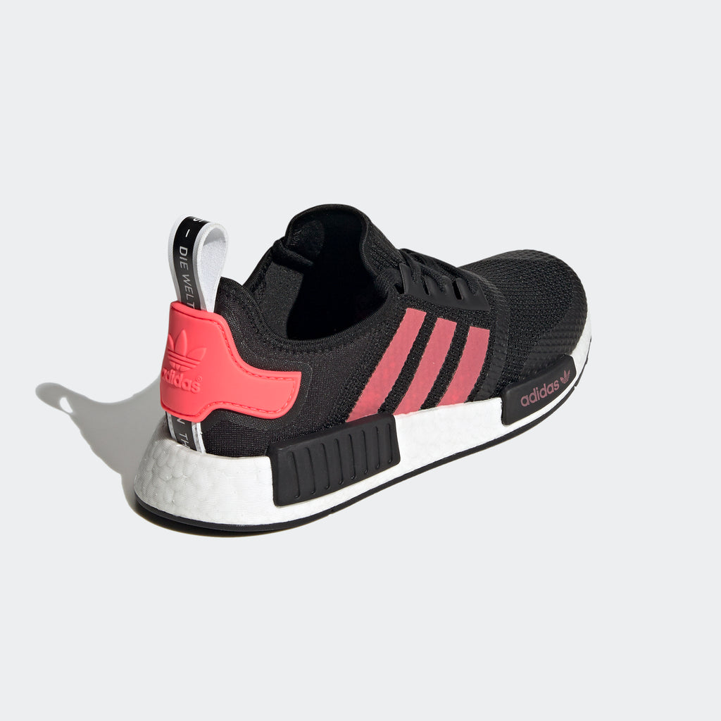 Men's adidas NMD_R1 Shoes Black Signal Pink FV9153 | Chicago City Sports | diagonal view