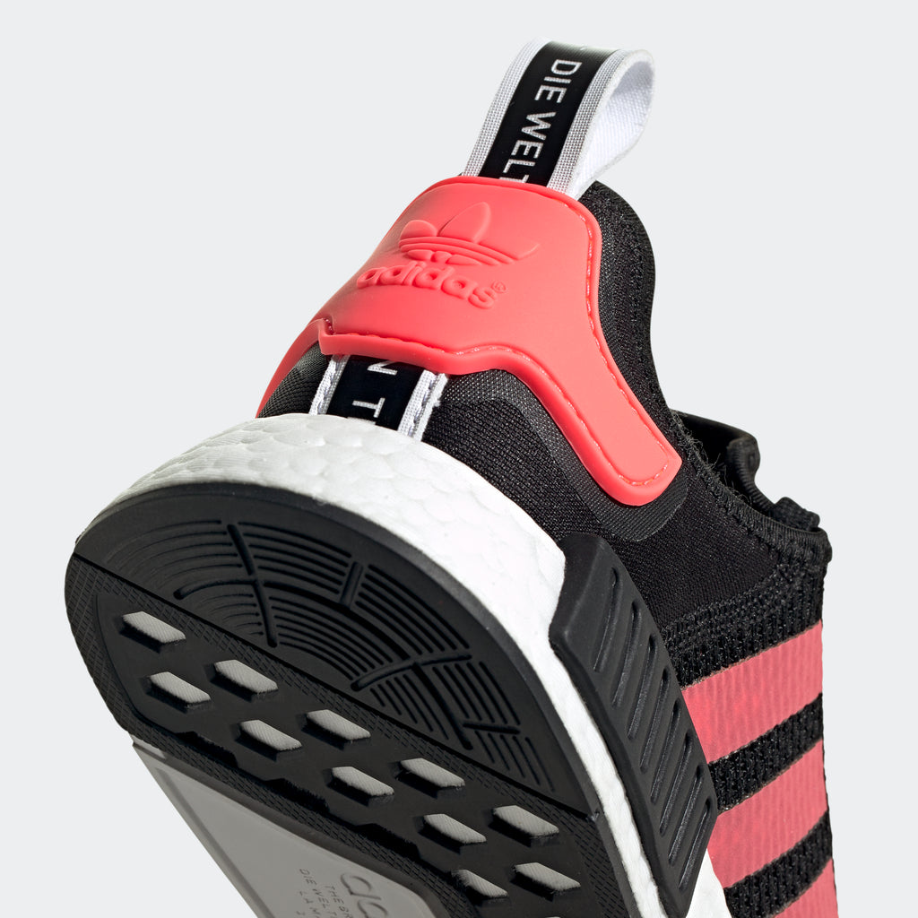 Men's adidas NMD_R1 Shoes Black Signal Pink FV9153 | Chicago City Sports | detailed heel view