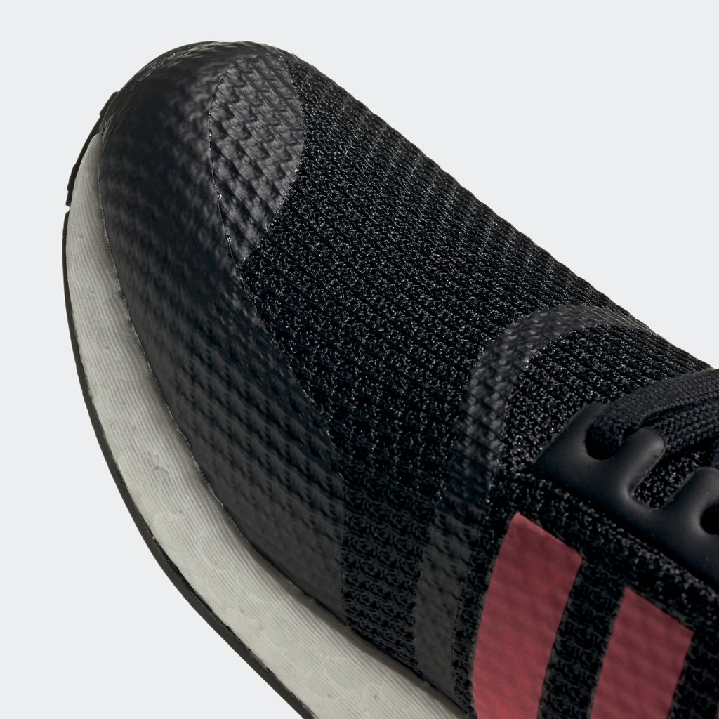 Men's adidas NMD_R1 Shoes Black Signal Pink FV9153 | Chicago City Sports | detailed toe area view