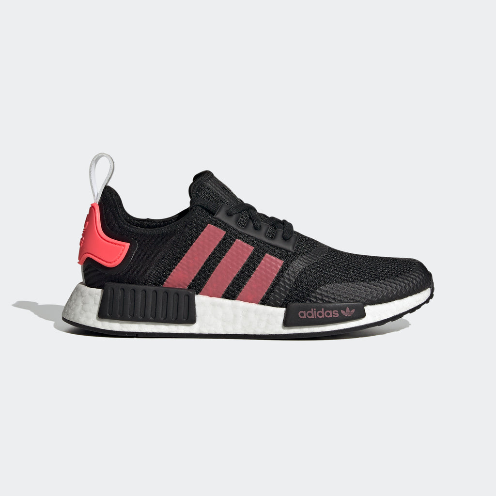 Men's adidas NMD_R1 Shoes Black Signal Pink FV9153 | Chicago City Sports | side view