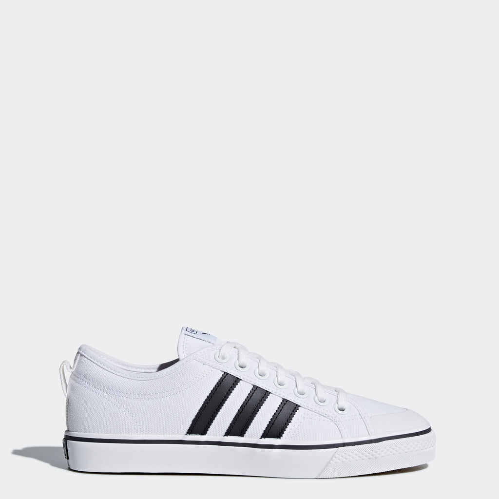 Men's adidas Nizza Shoes White Black SKU CQ2333 | Chicago City Sports | side view