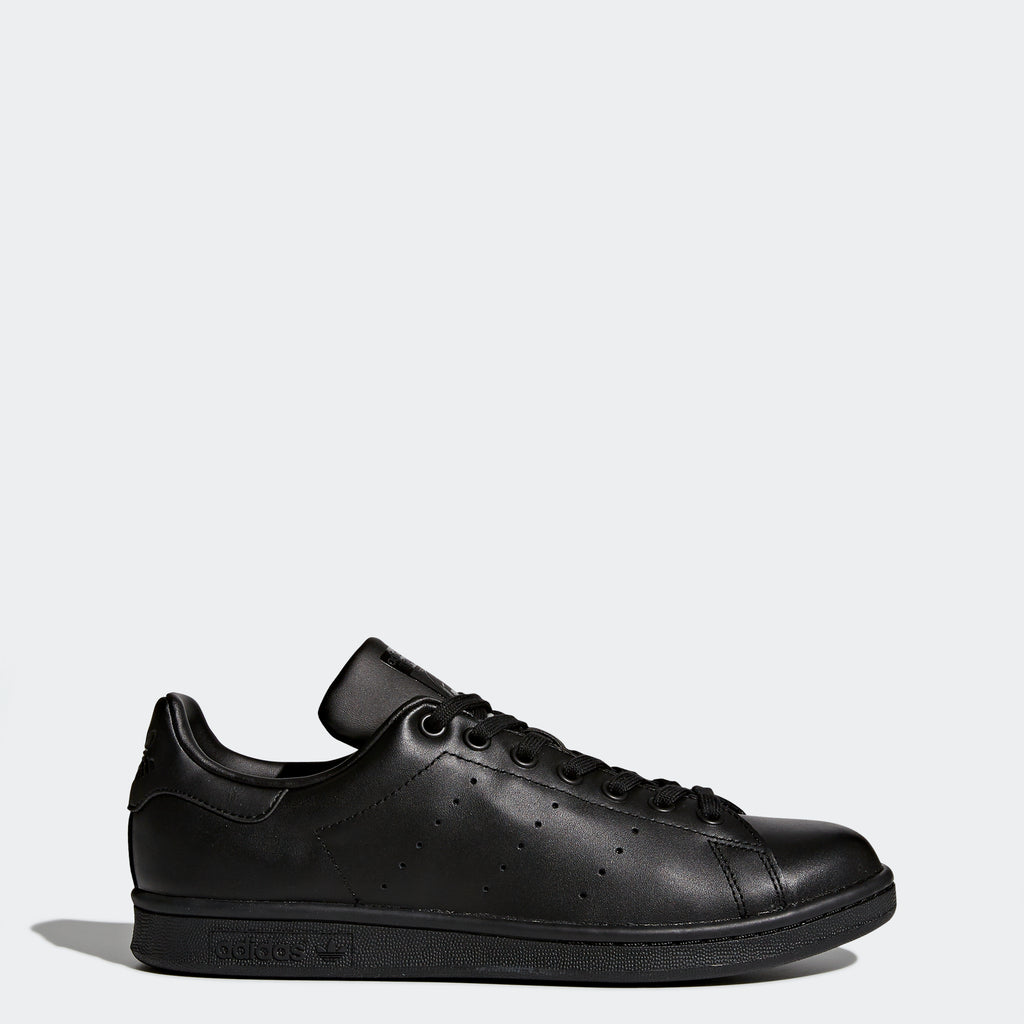 Men's adidas Stan Smith Shoes Triple Black SKU M20327 | Chicago City Sports | side view