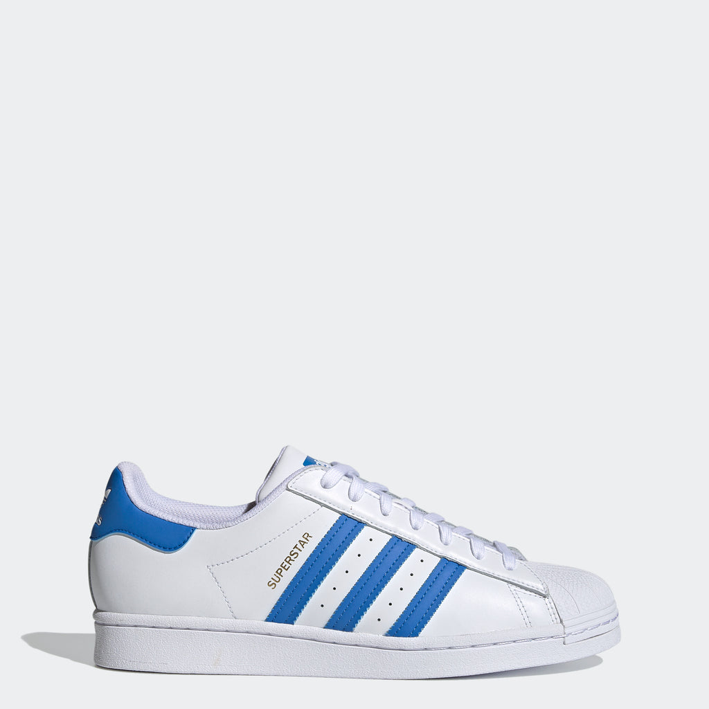 Men's adidas Superstar Shoes White Blue H68093 | Chicago City Sports | side view