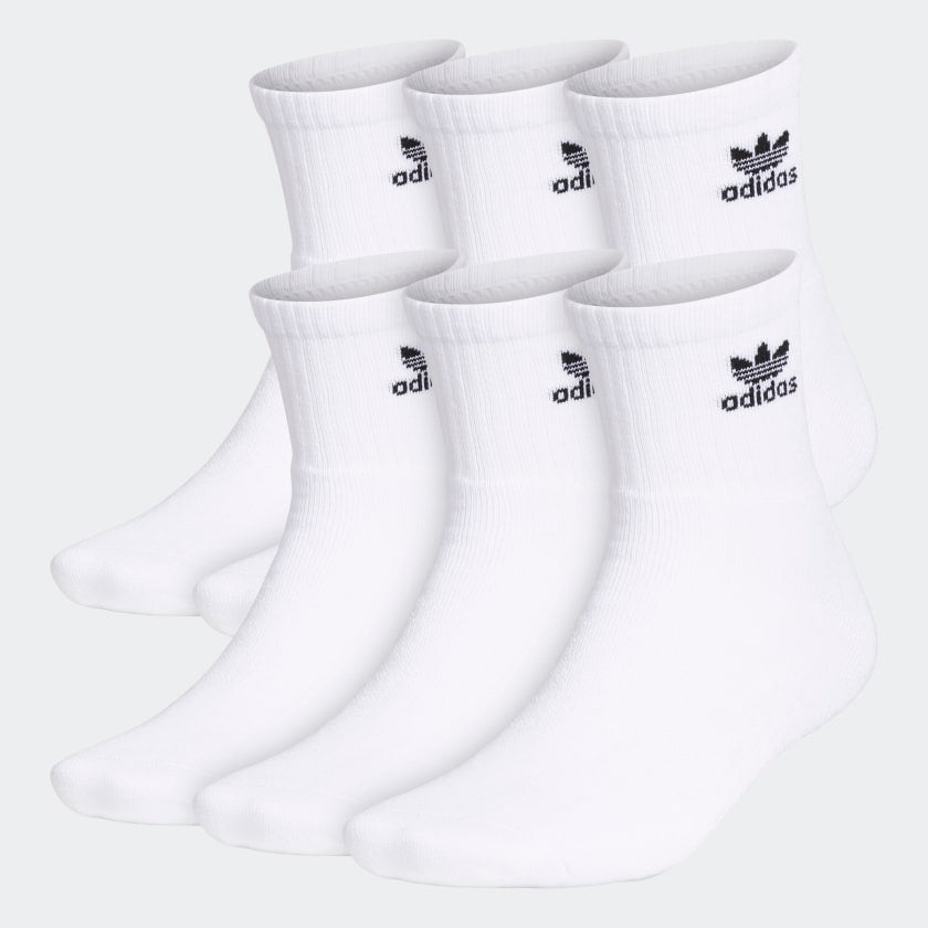 Men's adidas Trefoil 6-Pack Socks White CI9855 | Chicago City Sports |  6 pack
