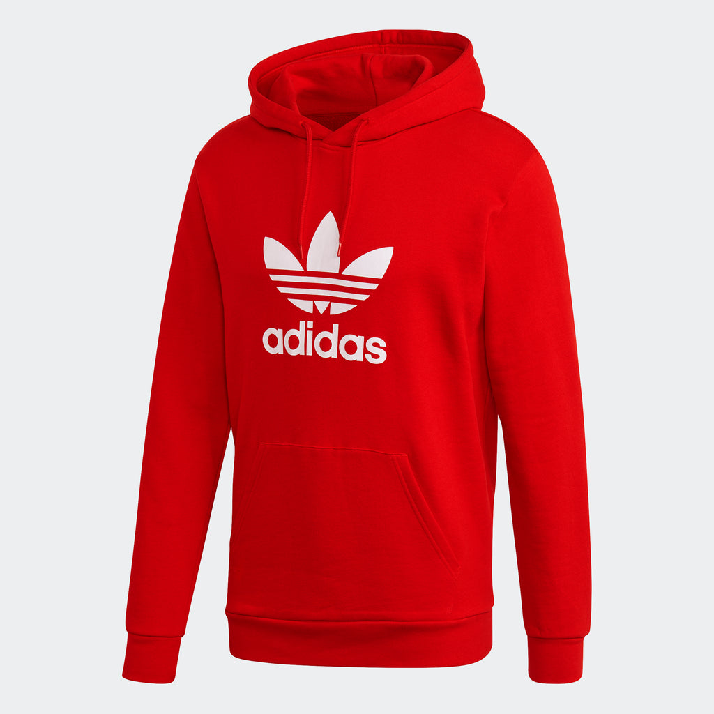 Men's adidas Originals Trefoil Hoodie Scarlet GD9924 | Chicago City Sports | front view