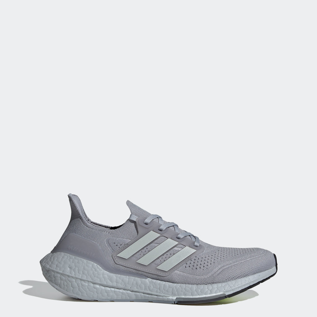 Men's adidas Ultraboost 21 Shoes Silver FY0432 | Chicago City Sports | side view