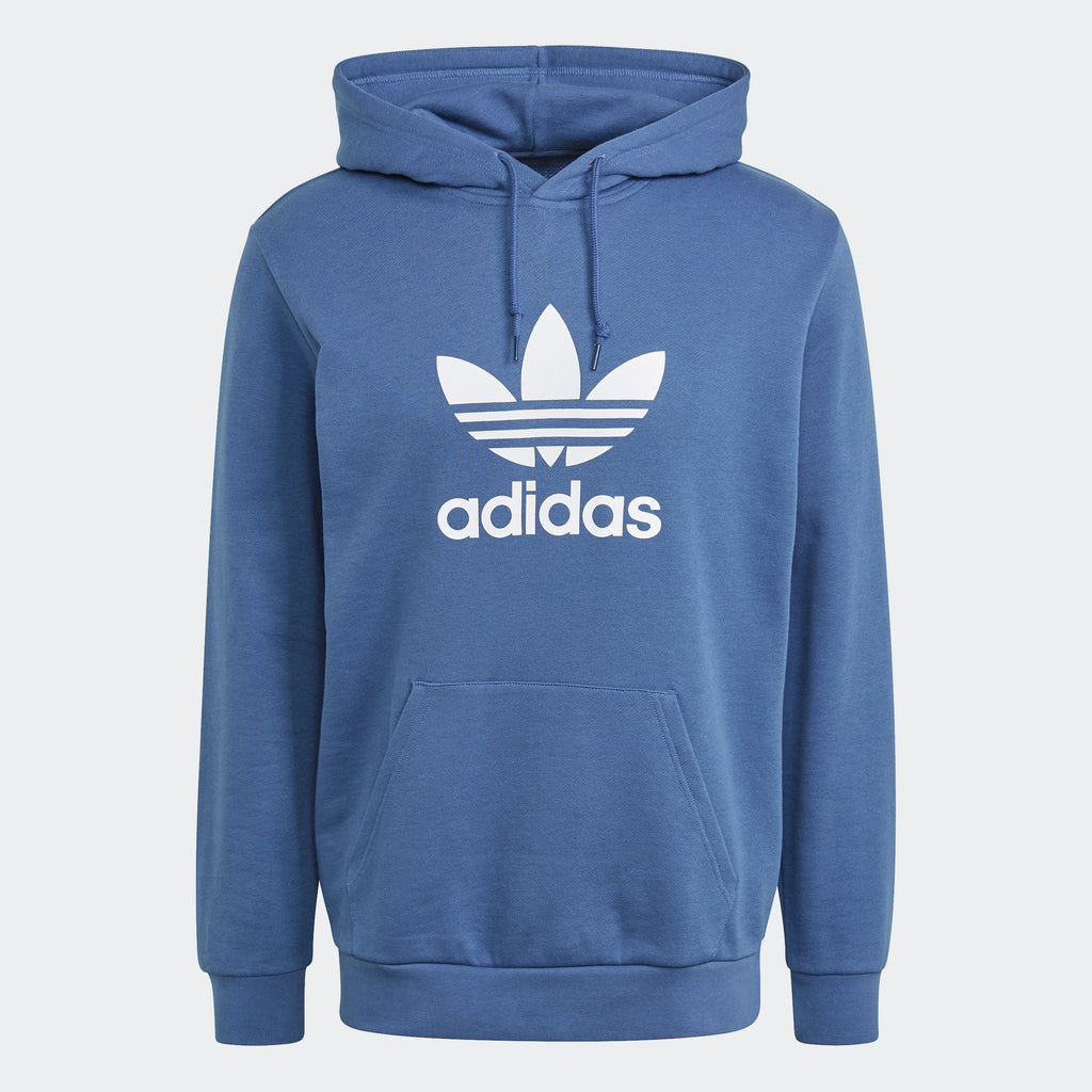 Men's adidas Trefoil Hoodie Crew Blue GN3460 | Chicago City Sports | front view