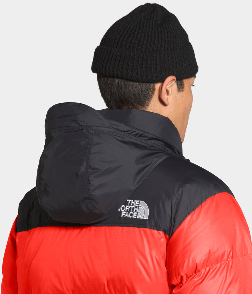 Men's The North Face 1996 Retro Nuptse Jacket Flare Orange | Chicago City Sports | hood view