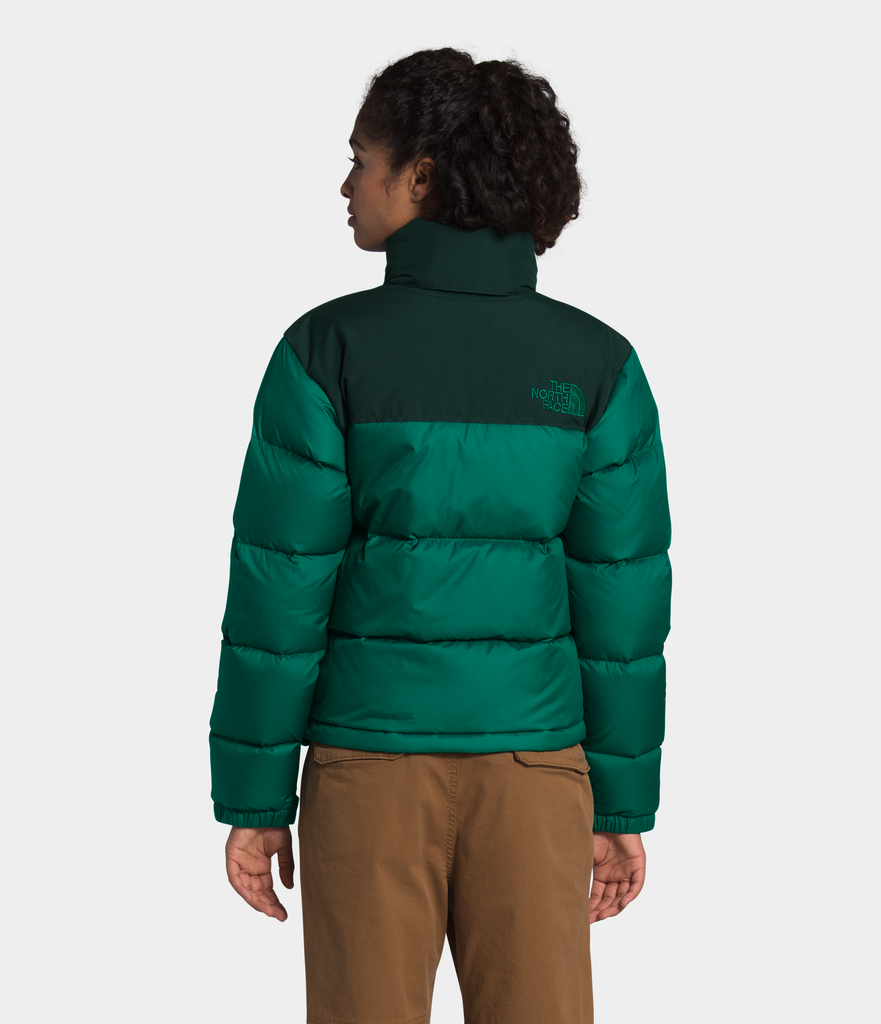 Women's The North Face Eco Nuptse Down Jacket Evergreen NF0A3YU5TC5 | Chicago City Sports | rear view on model