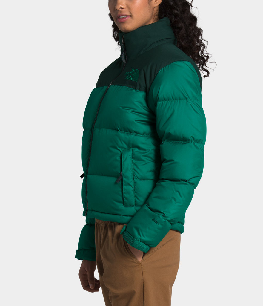 Women's The North Face Eco Nuptse Down Jacket Evergreen NF0A3YU5TC5 | Chicago City Sports | side view on model