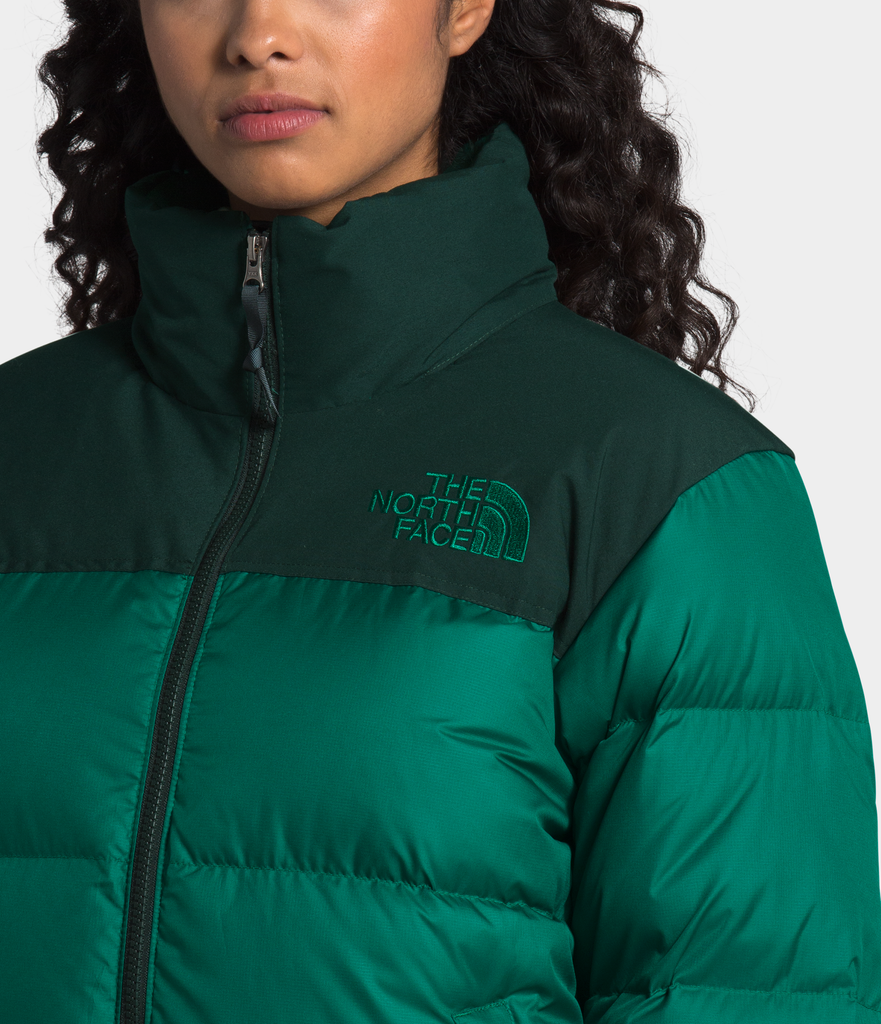 Women's The North Face Eco Nuptse Down Jacket Evergreen NF0A3YU5TC5 | Chicago City Sports | logo view