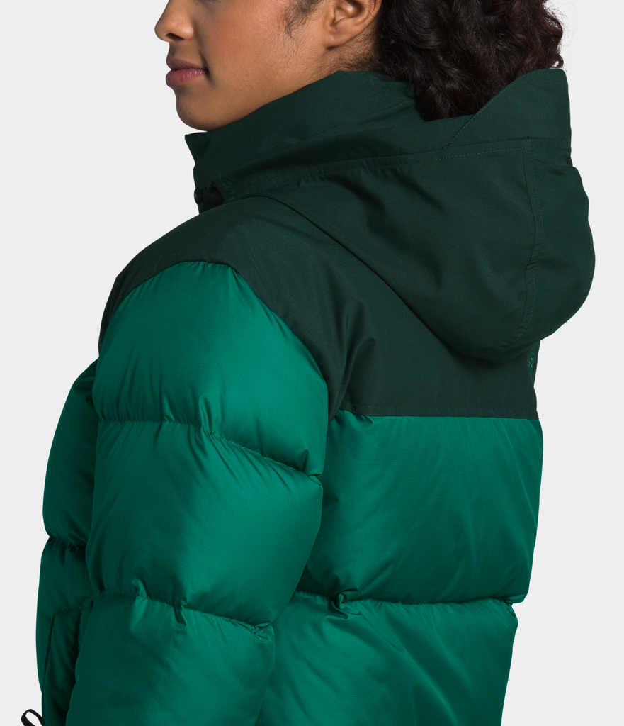 Women's The North Face Eco Nuptse Down Jacket Evergreen NF0A3YU5TC5 | Chicago City Sports | hood view