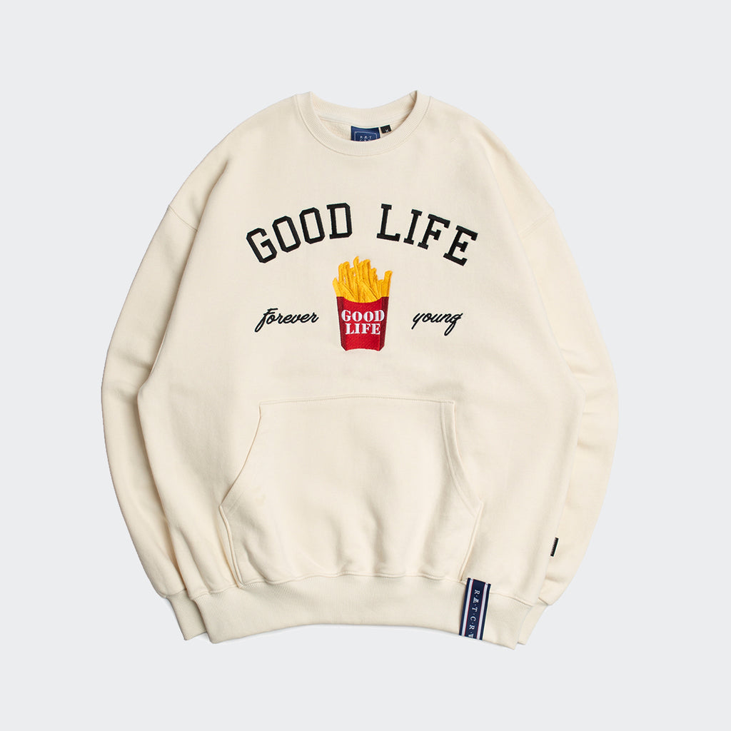 Unisex Romantic Crown 10th Good Life Sweatshirt Oatmeal