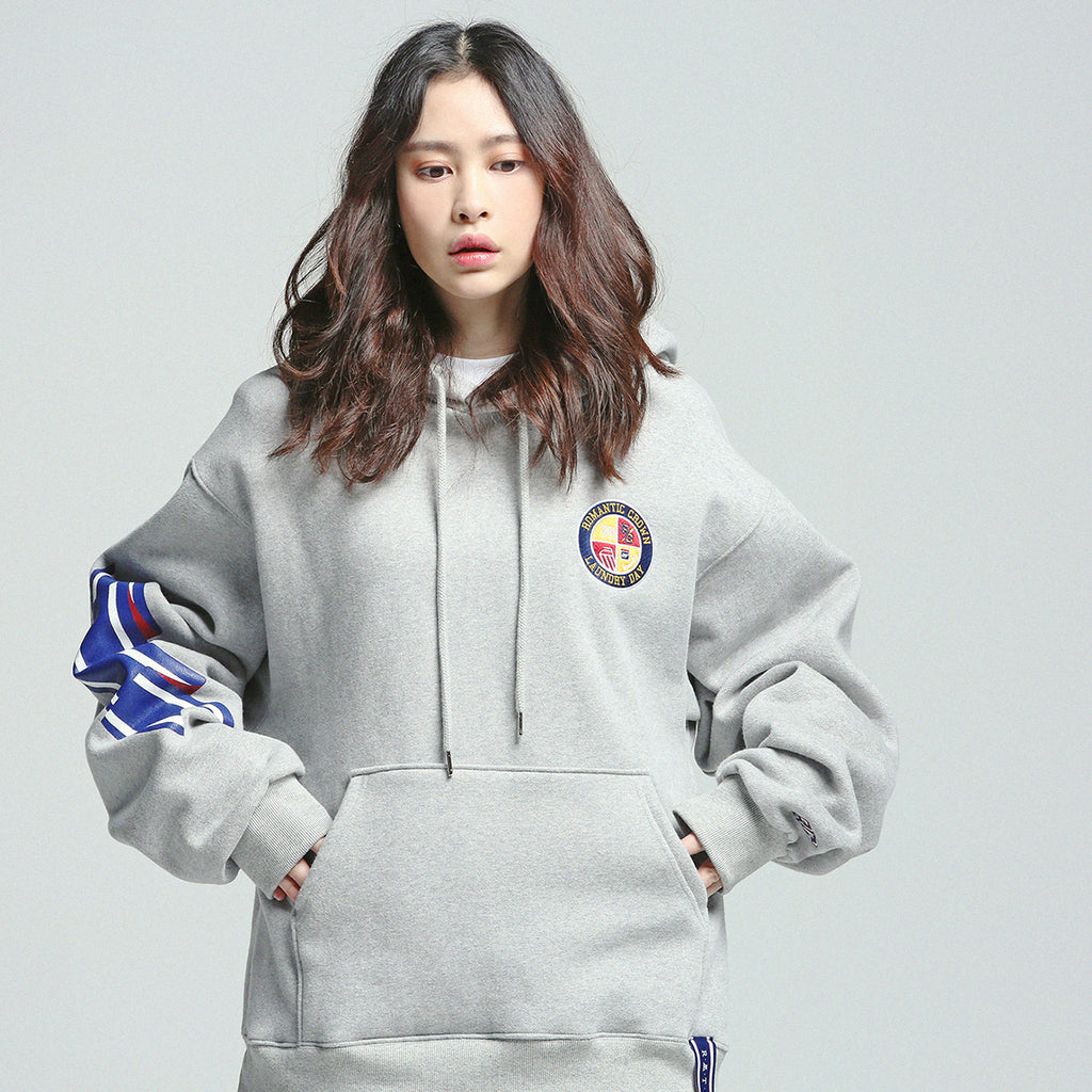 Unisex Romantic Crown Ceremony Tape Wide Hoodie Heather Grey