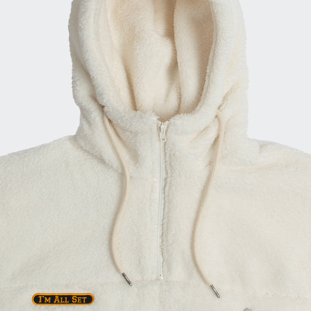 Unisex Romantic Crown Pocket Fur Anorak Oatmeal