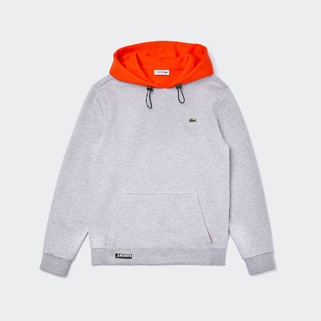 Men's Lacoste SPORT Hooded Fleece Sweatshirt Grey Chine