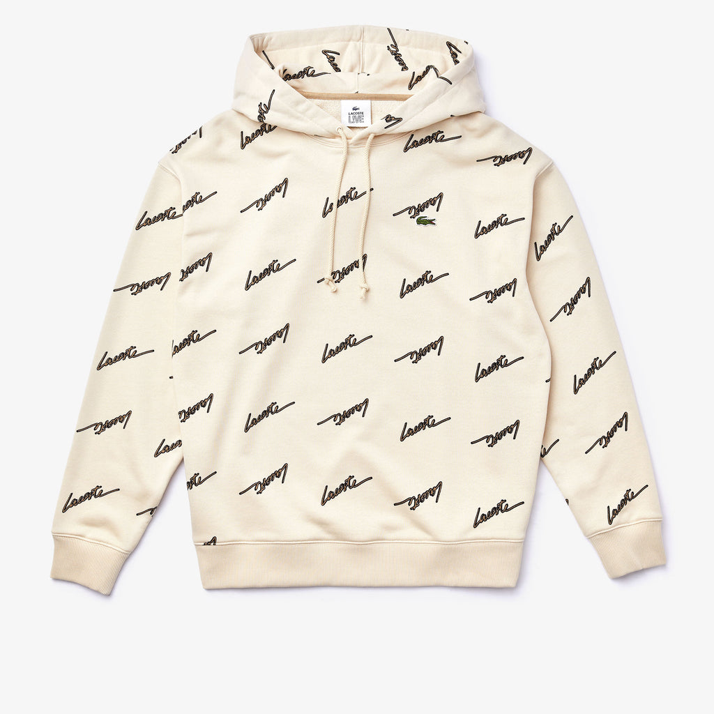Men's Lacoste Live Hooded Printed Fleece Sweatshirt Beige (SH4383WGU) | Chicago City Sports | front view