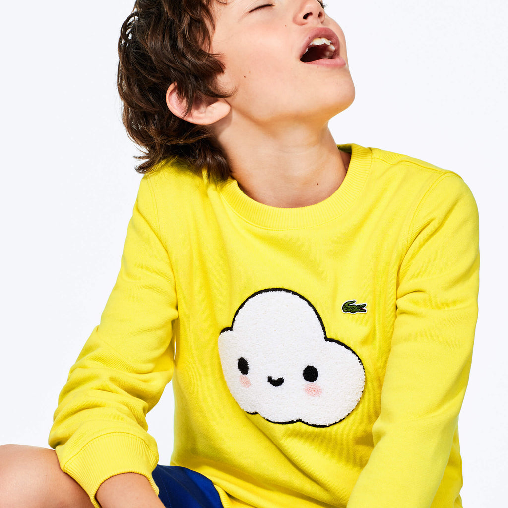 Kid's Lacoste x FriendsWithYou Graphic Crew Neck Cotton Sweatshirt (SKU SJ01227GC) | Chicago City Sports | front view on model