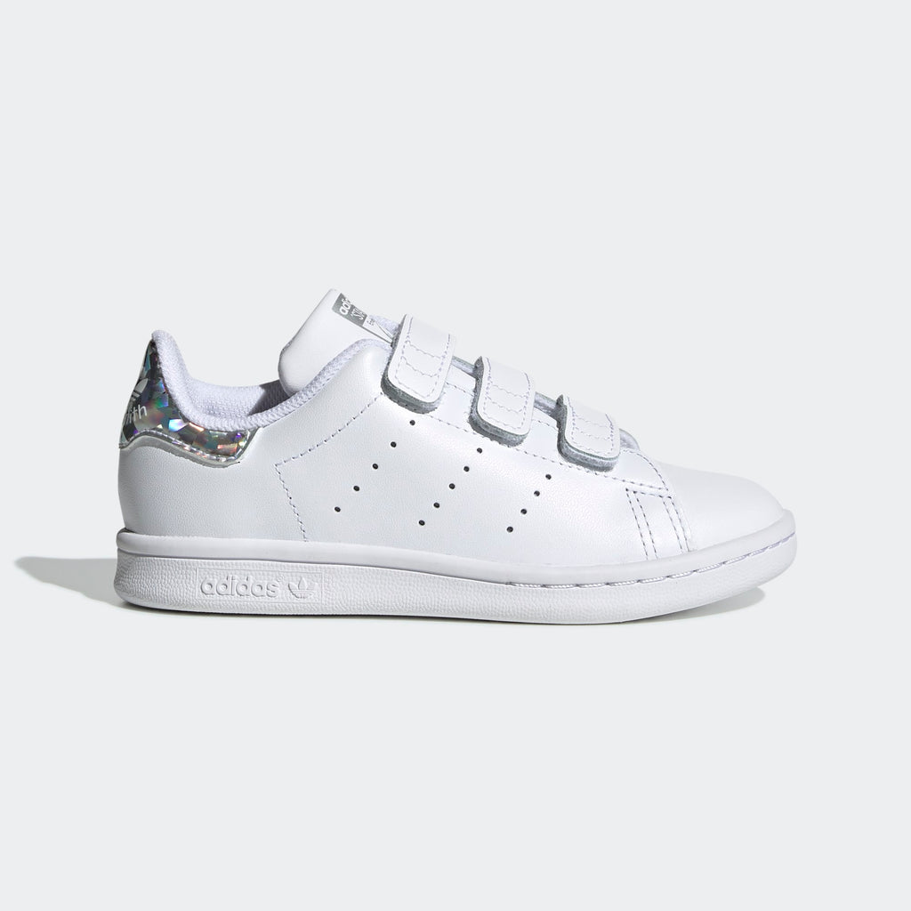 Kid's adidas Originals Stan Smith Velcro Shoes White Silver Iridescent