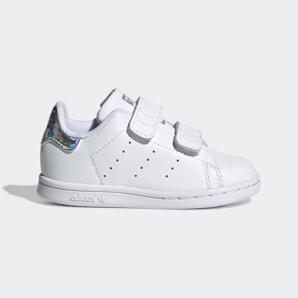 Toddler's adidas Originals Stan Smith Velcro Shoes White Silver Iridescent