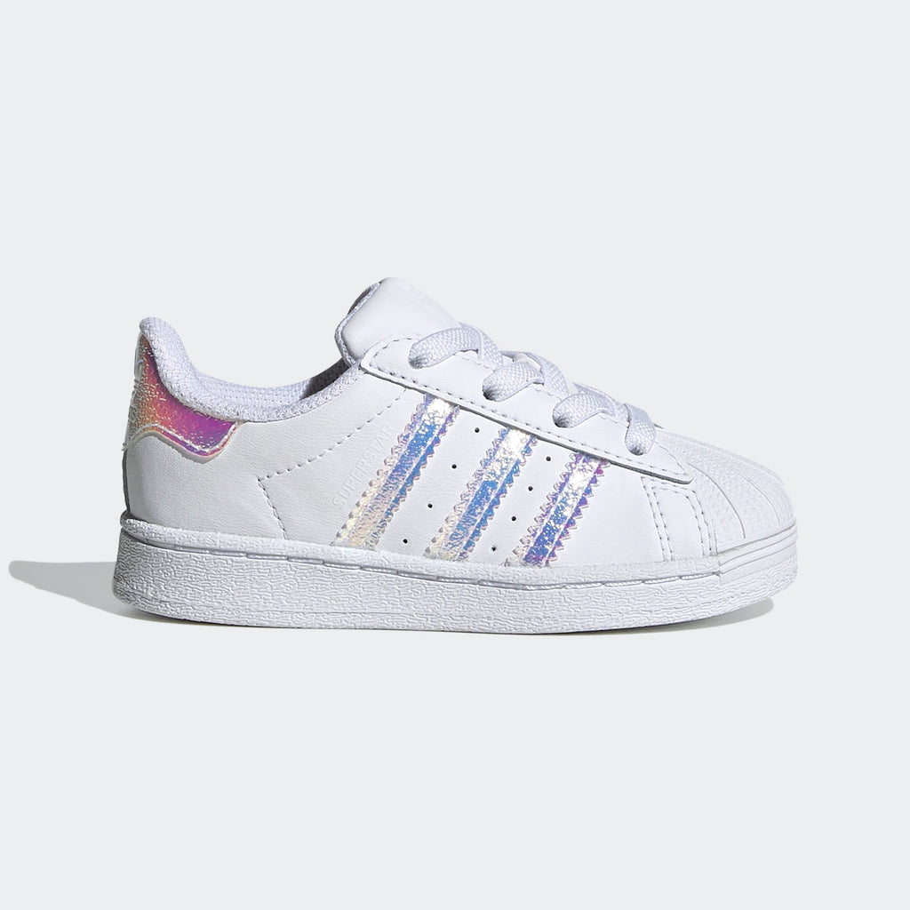 Toddler's adidas Originals White Iridescent Superstar Shoes