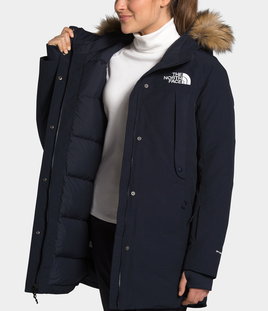 Women's The North Face New Outer Boroughs Parka Navy NF0A4R3JRG1 | Chicago City Sports | interior view