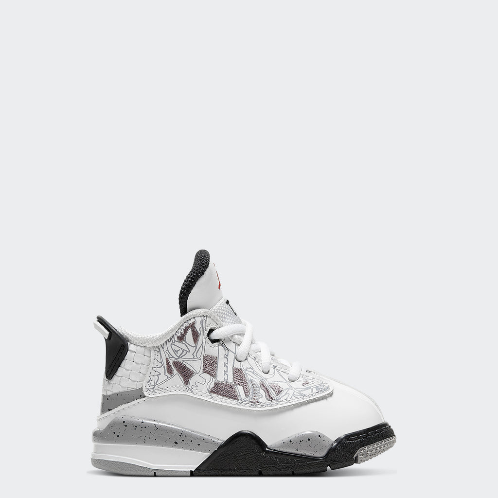 Toddler's Air Jordan Dub Zero TD White 311072105 | Chicago City Sports | side view