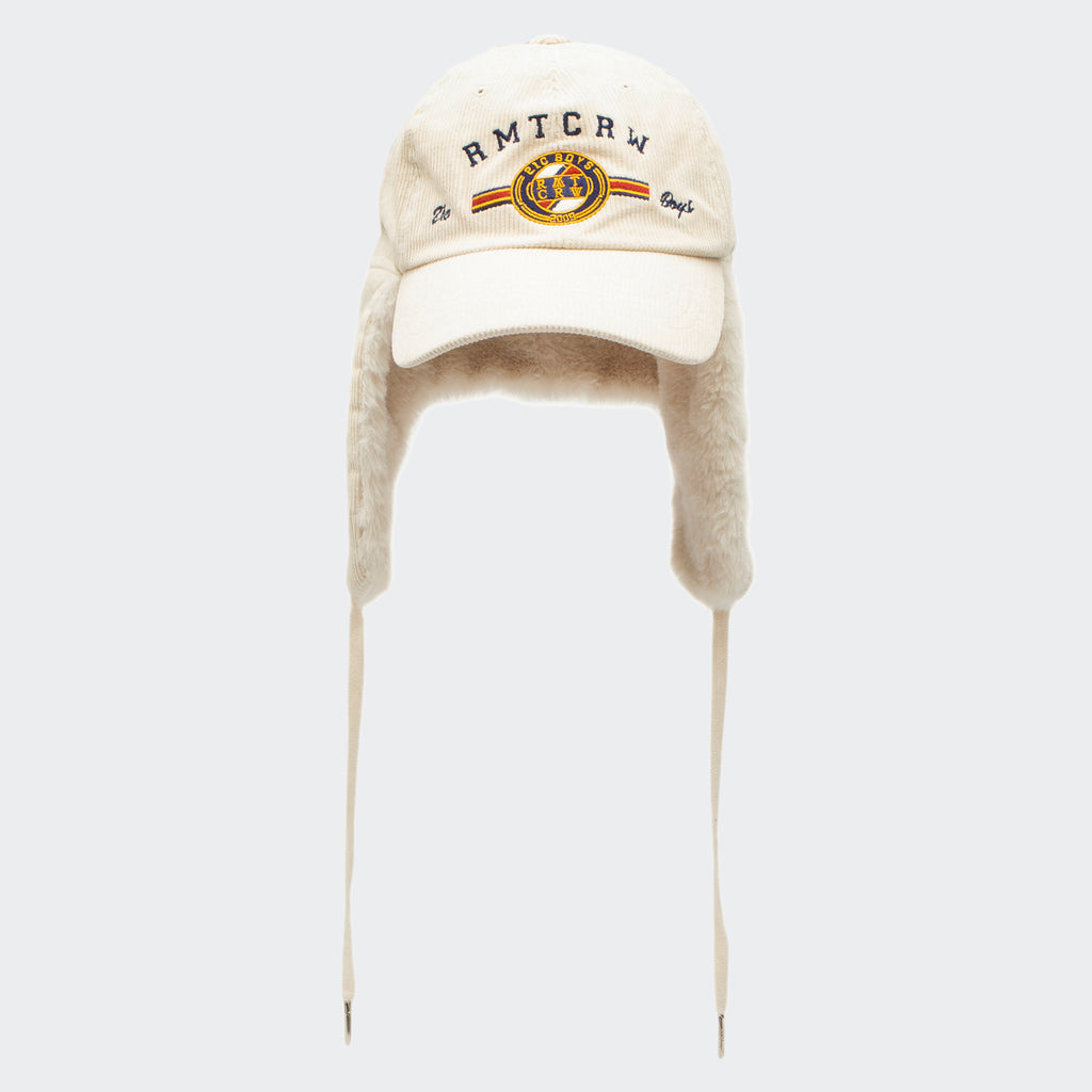 Unisex Romantic Crown Corduroy Trooper Hat Ivory