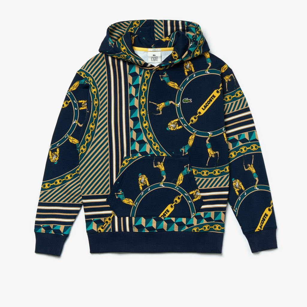 Unisex Lacoste Scarf-Print Hooded Sweatshirt (SH4388QRN) | Chicago City Sports | front view