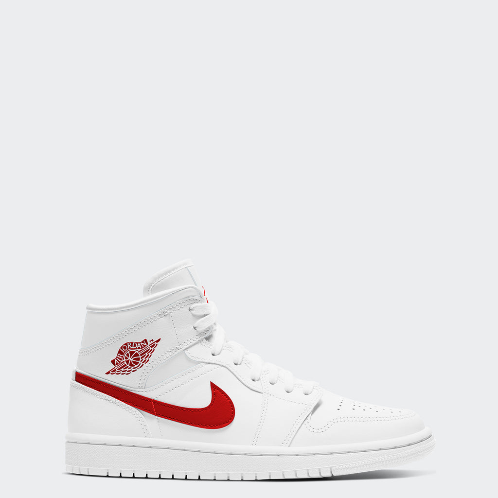 "Women's Air Jordan 1 Mid Shoes ""White University Red"""