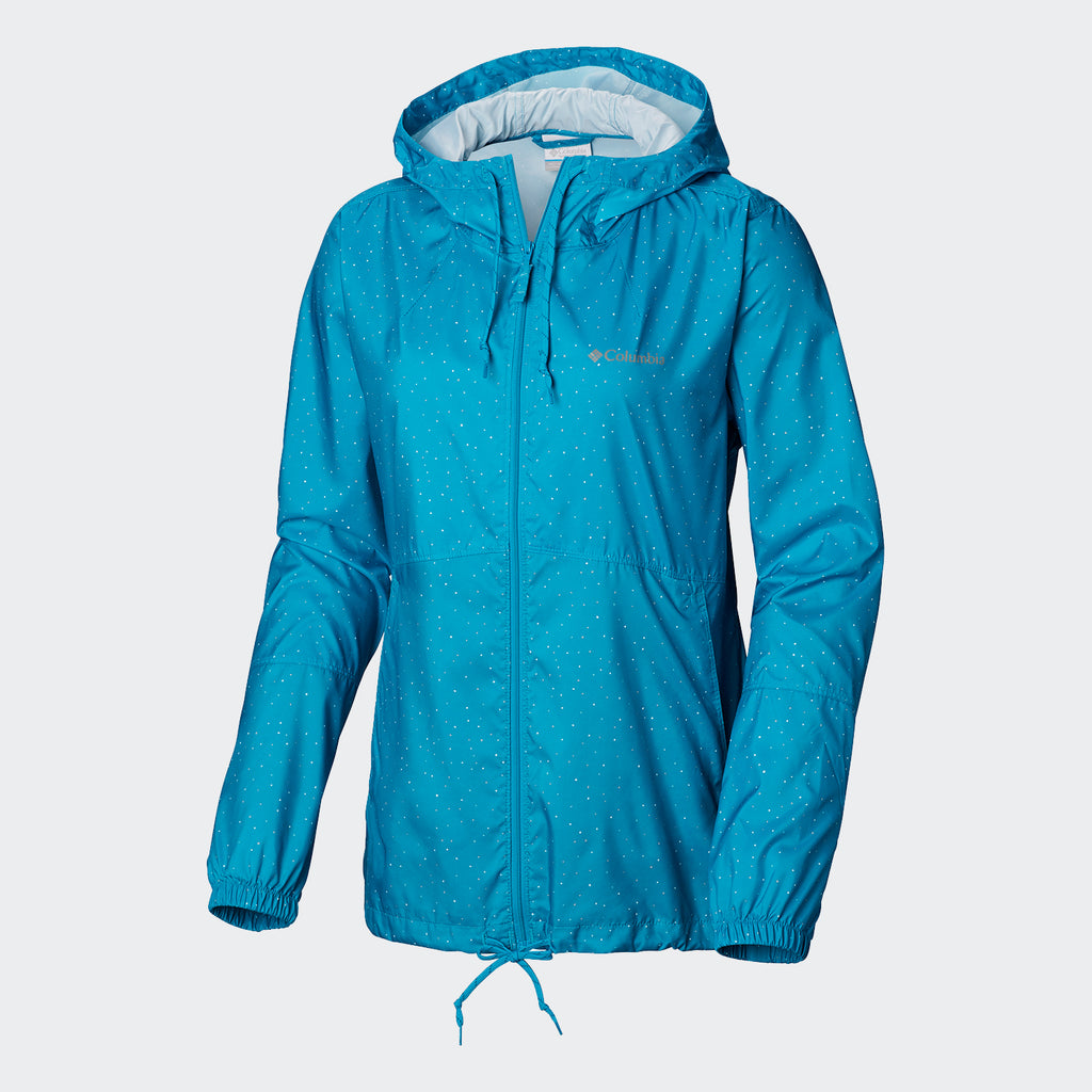 Women's Columbia Flash Forward Windbreaker Turq Dots