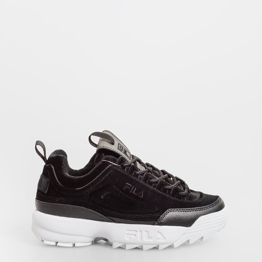 Women's FILA Disruptor 2 Premium Velour Shoes Black