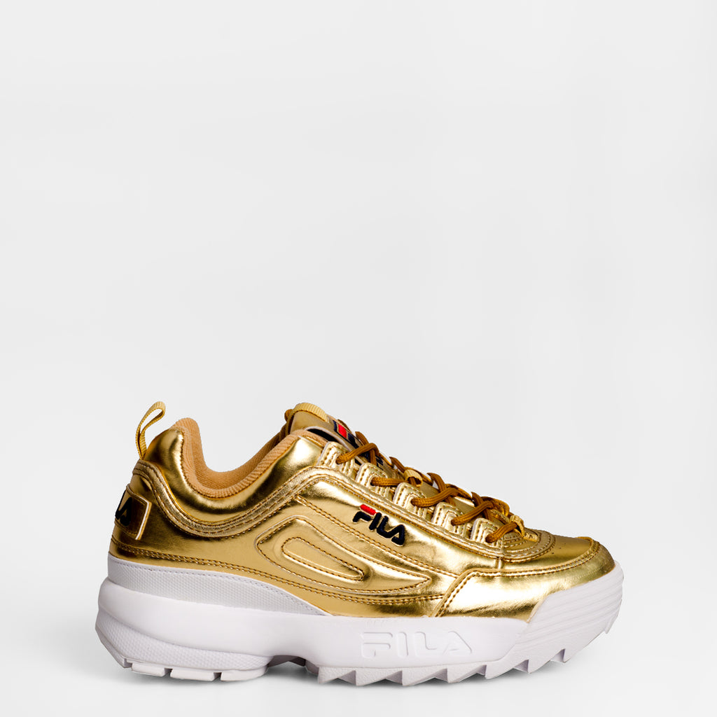 Women's FILA Disruptor 2 Premium Metallic Shoes Gold