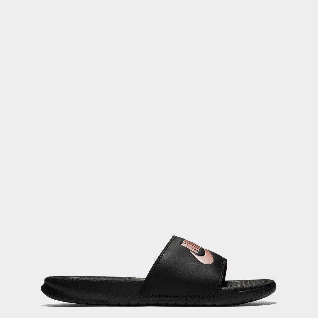 Women's Nike Benassi JDI Slides Black Rose Gold