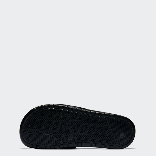 Women's Nike Benassi JDI Slides Black Vivid Pink (SKU 343881-061) | Chicago City Sports | bottom view