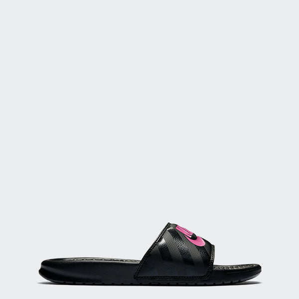 Women's Nike Benassi JDI Slides Black Vivid Pink (SKU 343881-061) | Chicago City Sports | side view