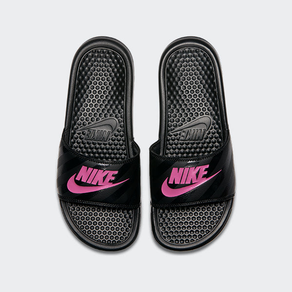 Women's Nike Benassi JDI Slides Black Vivid Pink (SKU 343881-061) | Chicago City Sports | top view