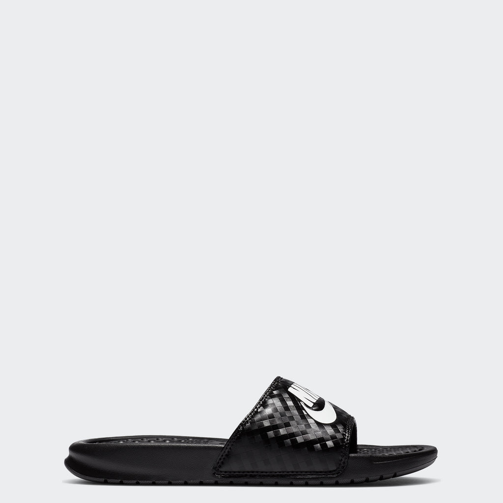 Women's Nike Benassi JDI Slides Black White (SKU 343881-011) | Chicago City Sports | side view