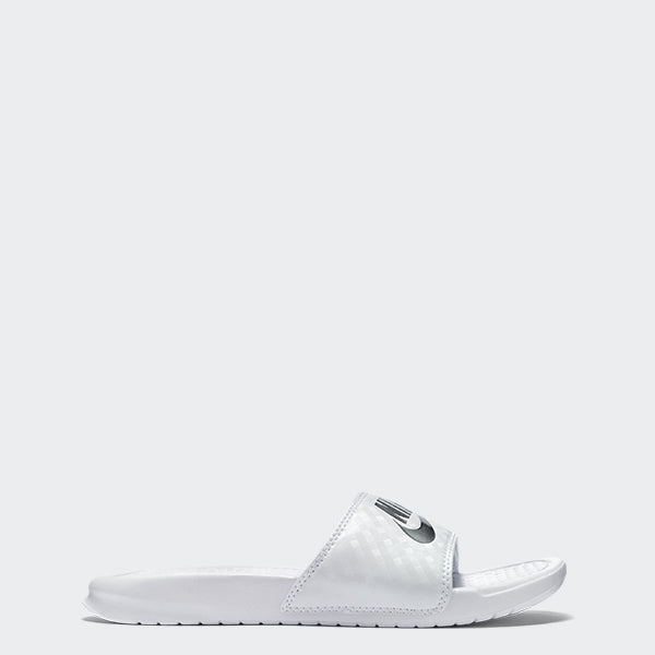 Women's Nike Benassi JDI Slides White Metallic Silver (SKU 343881-102) | Chicago City Sports | side view