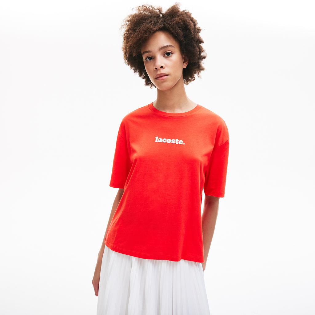Women's Lacoste Signature Printed Crew Tee Red TF5627R02 | Chicago City Sports | front view on model