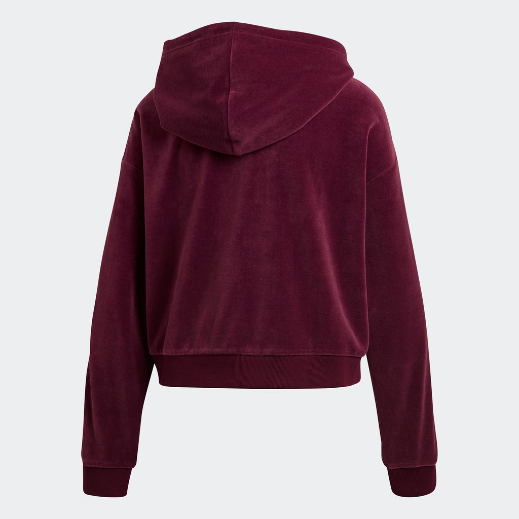 Women's adidas Originals Trefoil Velour Cropped Hoodie Maroon