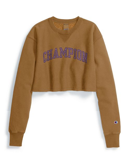 Women's Champion Life Reverse Weave Vintage Wash Cropped Crew Brown