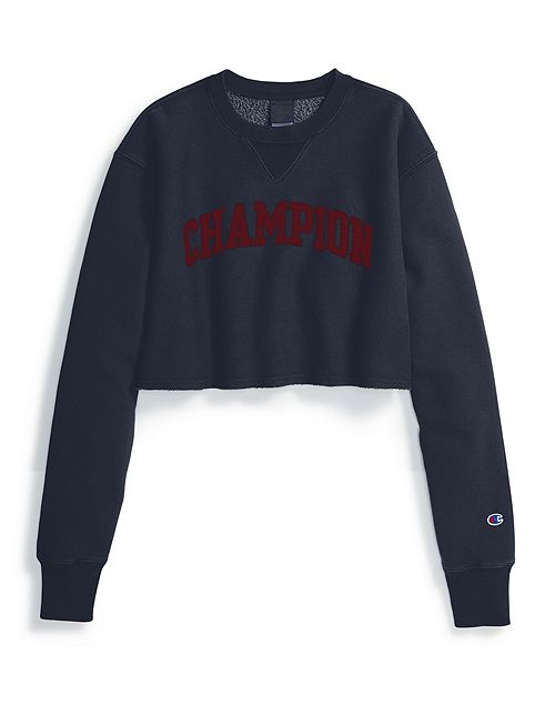 Women's Champion Life Reverse Weave Vintage Wash Cropped Crew Navy