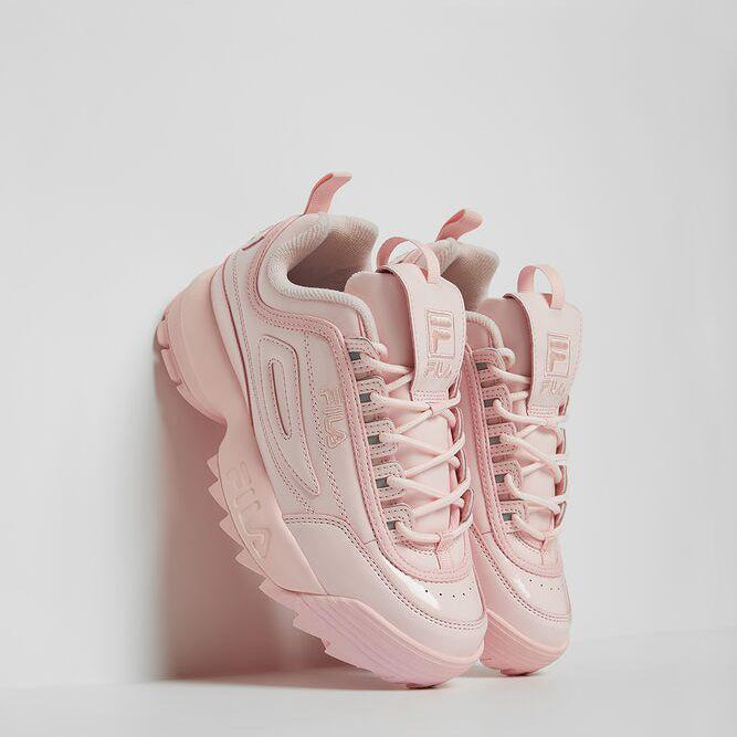 Women's FILA Disruptor 2 Premium Patent Shoes Chalk Pink