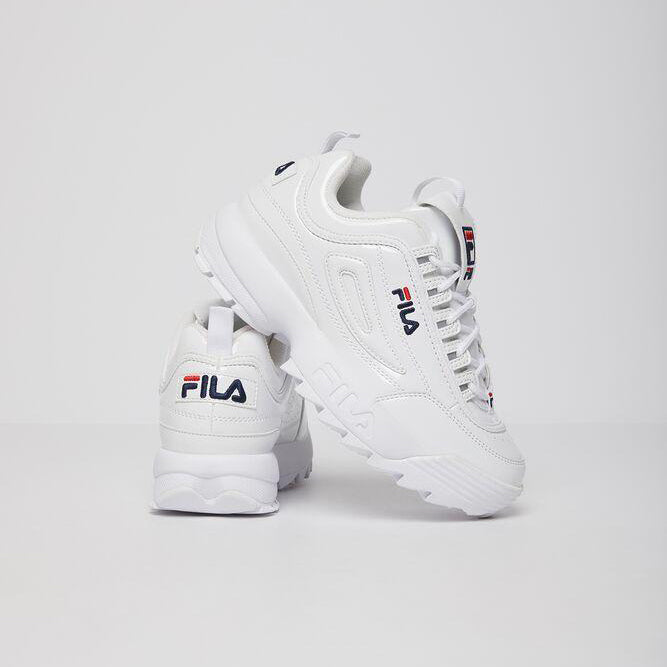 Women's FILA Disruptor 2 Premium Patent Shoes White