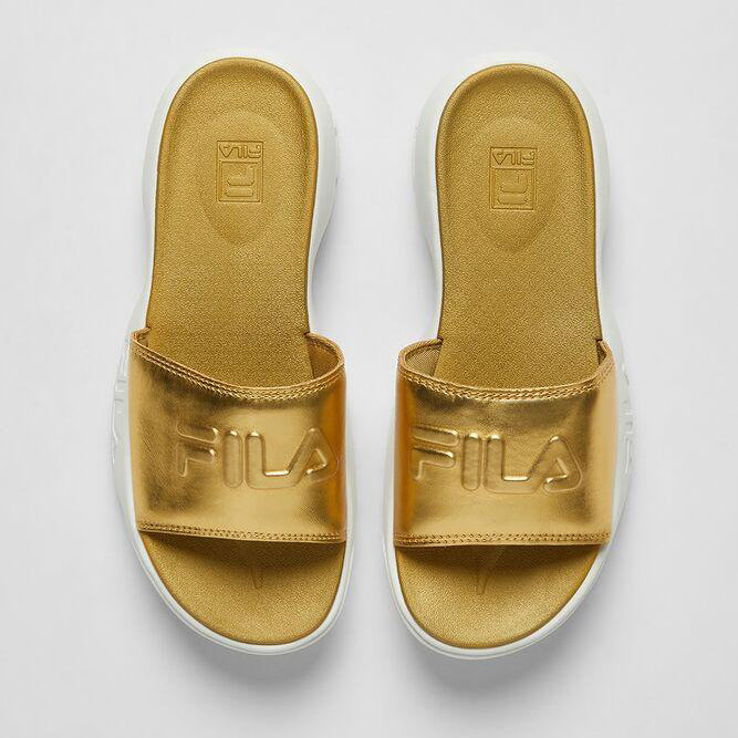 Women's FILA Disruptor Slides Metallic Gold