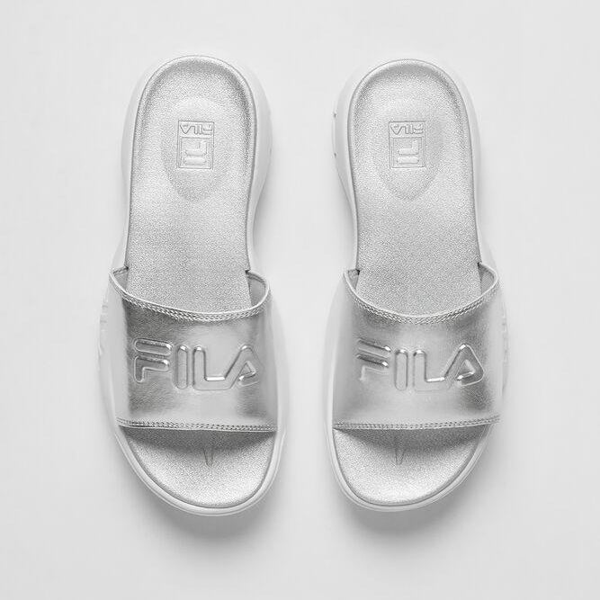 Women's FILA Disruptor Slides Metallic Silver
