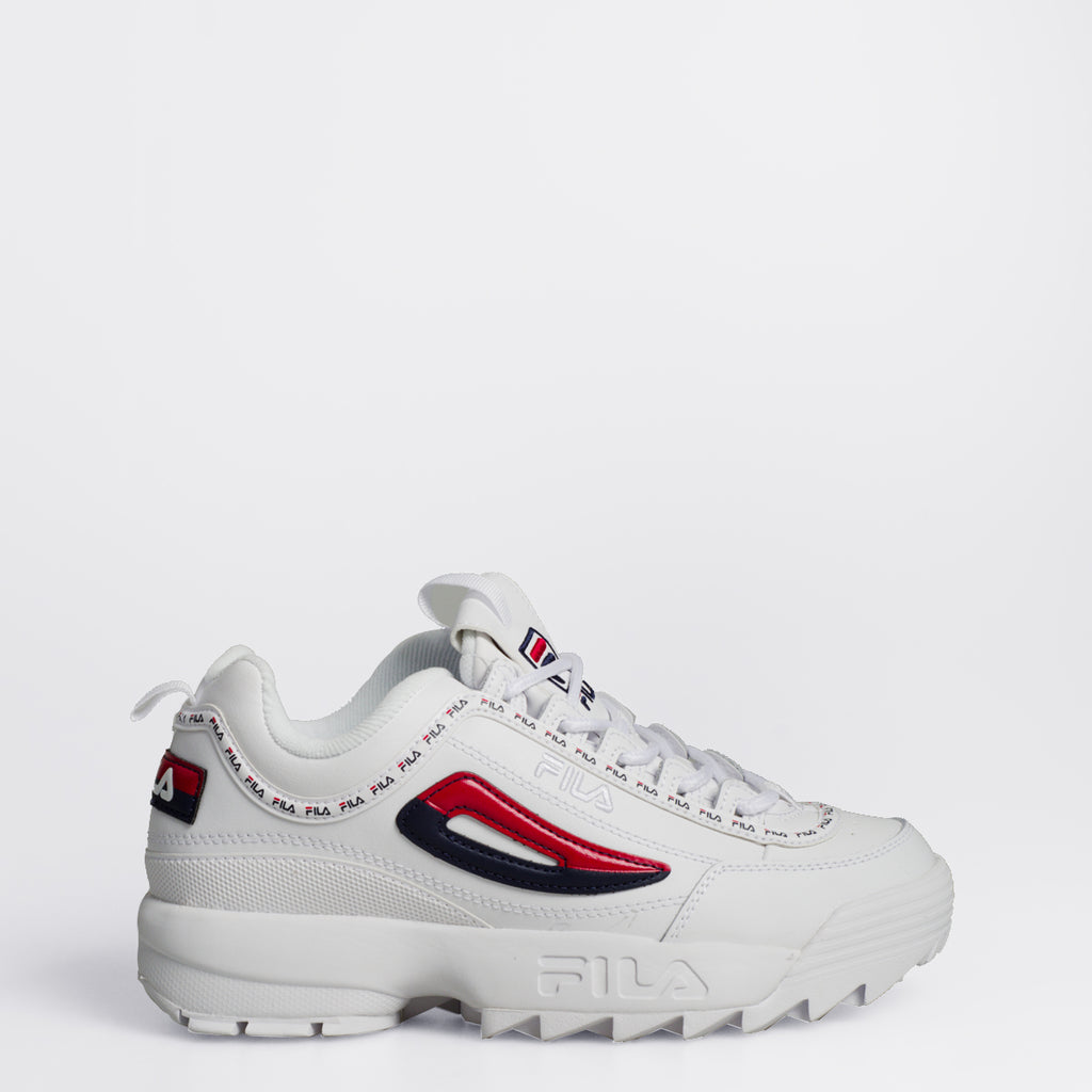 Women's FILA Disruptor 2 Premium Repeat Shoes White Red Navy
