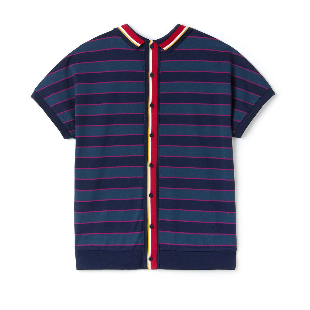 Women's Lacoste Back Button Colorblock Striped Polo Navy