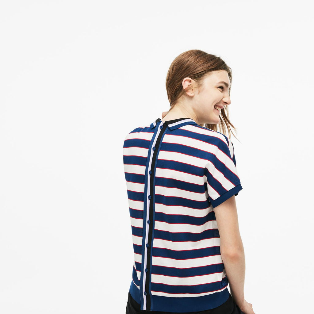 Women's Lacoste Back Button Colorblock Striped Polo White/ Navy